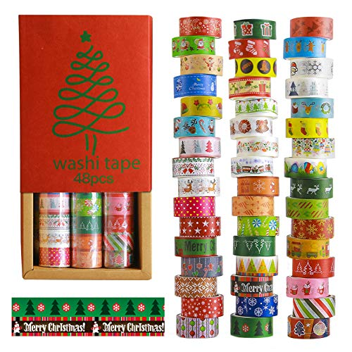 Christmas Washi Tapes 48 Rolls-15mm Wide Masking Tape Set Covering Different Christmas Holiday Patterns for DIY Christmas Card, Tree Decoration, Scrapbooking, Gift Packaging, Craft Projects.
