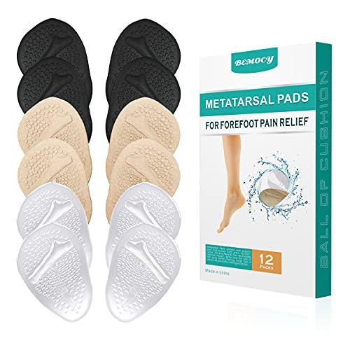 (6 Paar)Metatarsal Pads Ballenfußkissen, weiches Gel Vorfußkissen Pads,Anti-Rutsch High Heel Einlegesohlen für Frauen, reduzieren den Druck im Vorderfuß und lindern Beschwerden, Einheitsgröße.