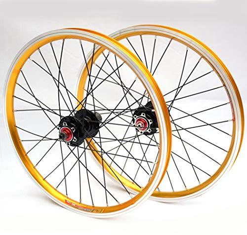 LYzpf Mountain Bike Wheel Front Rear Set Rims Disc Bicycle 20 Inch Disc Brake 4 Bearings Aluminum Alloy Equipment Accessories
