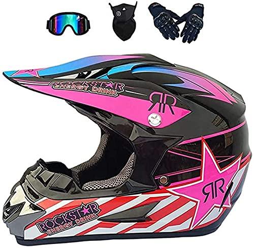 XIAOTIAN Casco de Motocross, Casco Cruzado de Motocicletas Conjunto con Gafas Guantes de máscara, Moto Off-Road Sports Downhill Dirt Bike Casco (Color : M)
