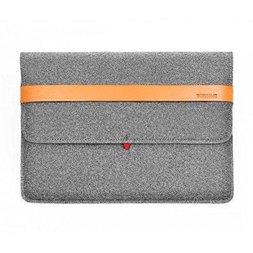 TOPHOME 13-13,3-Zoll-Laptop-Filzhülle, 100prozent Wolle-Schutztasche mit Tasche & Hülle für Apple MacBook/MacBook Air/neues MacBook Pro-Modell, grau