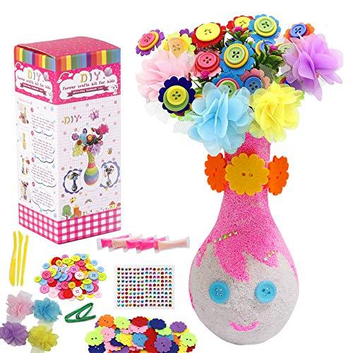 Kqpoinw Bastelset Kinder, DIY Kinder Bastelsets Bastelset Filzblumen Kinder mit Knöpfen Craft Kit für Jungen und Mädchen Alter 4 5 6 7 8 9 10 Jahre alt (Niedlich Mädchen)