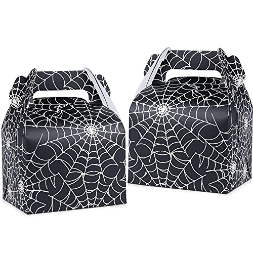 Fowecelt 50pcs Halloween Favor Candy Boxes, Paper Spider Web Black Gift Bags Halloween Treat Bag for Halloween Party Decorations Kids Spider Birthday Party Supplies