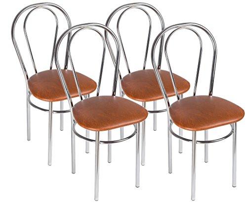 Silla de Cocina Silla de Comedor Elegante - tulipan Cromo Trapecio - Color: Marrón - Set de 4 Sillas