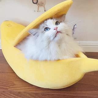 Longay Small Pet Bed Banana Shape Fluffy Warm Soft Plush Breathable Bed Banana Cat Bed (M)