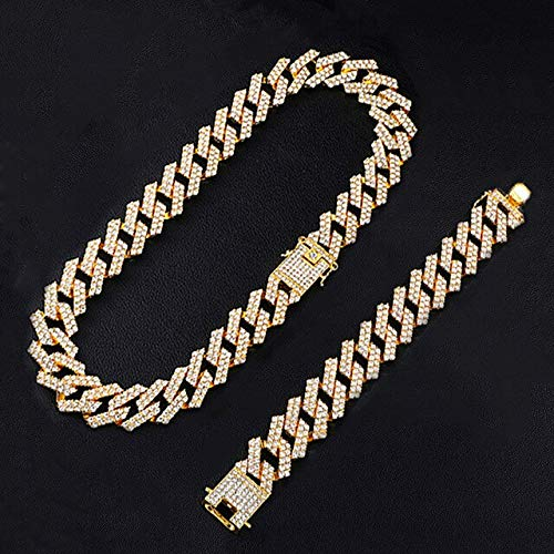 BJGCWY 1kit 20mm Silber Farbe Heavy Full Iced Out Gepflasterte Strasssteine Prong Cuban Chain Bling Choker Halsketten Für Männer Schmuck 24inches (60cm) Halskette Armband