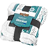 Trailcrest Nordic Christmas Plush Sherpa Adult Luxury Warm Throw Blanket for Men & Women-Holiday-Home-Outdoor-Travel -Extra Large Size