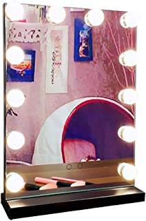 Beauty Mirror Dressing Table Mirror with Lights, HD Touch Screen Switch with LED Lights Rechargeable Suit for Dressing Table Photo Studio Dressing Mirror (Color : Black, Size : 12 LED)