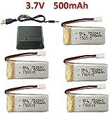 ZYGY 5PCS 3.7V 500mAh 25C Battery & 5en1 Chargeur pour JJRC H31 H37 H6D Hubsan X4 FPV H107C H107D H107L H107P H108 JXD392 JXD388 JXD385 UDI U816A SYMA X5C X5SW HS180 HS180 HS170 TR-C385 TR-P51 TR-F22