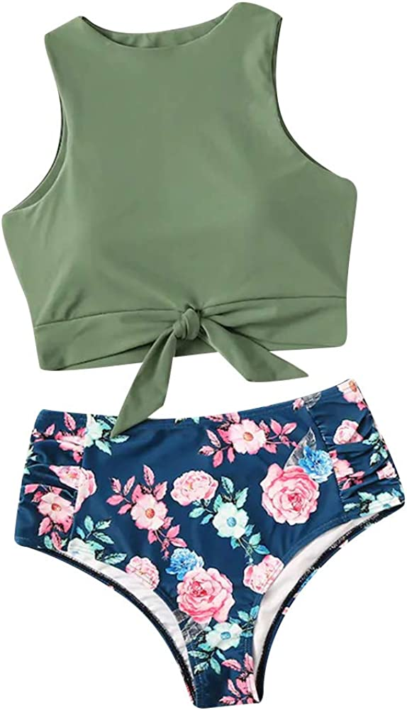 Women's High Waisted Bikini Set High Neck Knot Top with Floral Printed Two Pieces Tankini Swimwear Swimsuit