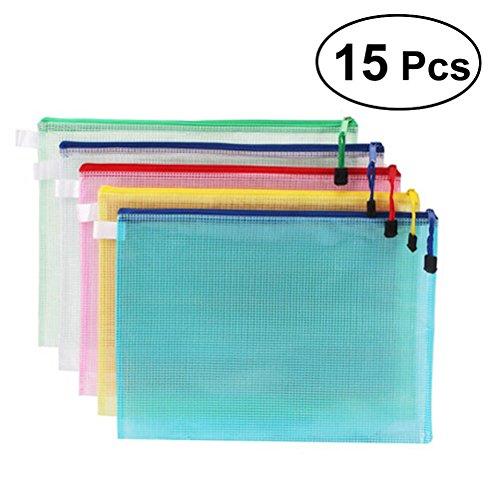 YEAHIBABY Beutel A4 Mesh,Reißverschlussbeutel Dokumententasche Taschen Aktenhülle Ordnungsmappe Zip-Datei Tasche mit Reißverschluss,15 Stück