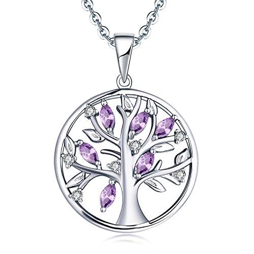 JO WISDOM Collar Colgante Arbol de la vida Familia Plata de ley 925 Cristales 3A Circonita Piedra natal de Febrero Color Amatista Mujer Joyería