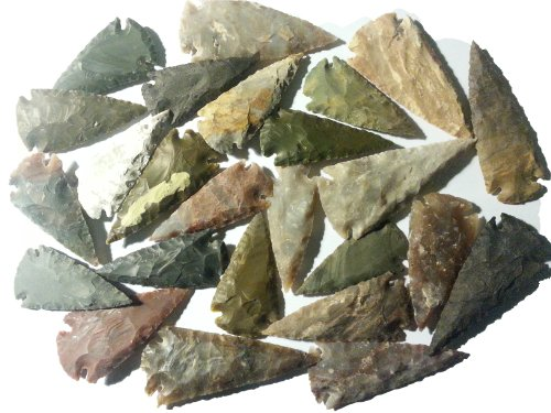 25 Pfeilspitzen 6 bis 8,5cm Steinzeit Nachbau