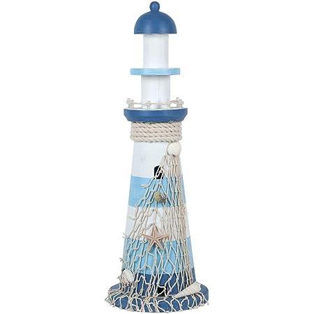CAPRILO. Adorno Decorativo Marinero de Madera Faro Azul y Blanco con Leds. Figuras y Esculturas. Iluminación y Luces. Decoración Hogar. Regalos Originales. 14 x 14 x 42 cm.