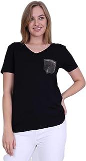 WOMEN V-NECK POCKET STONE BLACK T-SHIRT