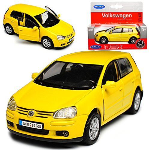 Welly Volkwagen Golf V Gelb 5 Türer 2003-2008 ca 1/43 1/36-1/46 Modell Auto