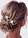 Heread Flower Bride Wedding Hair Pins Rose Gold Crystal Bridal Head Piece Pearl Hair Accessories for Women and Girls ( Pack of 2)