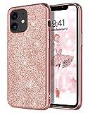 DOMAVER - Carcasa para iPhone 12, iPhone 12, diseño de oro rosa, con purpurina fina, ligera, ajuste cómodo, para niñas y mujeres, con purpurina