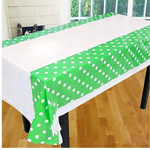 takestop® tafelkleed van kunststof voor feesten Pois 178 x 108 cm USA en Getta waterdicht verjaardag bruiloft doop feest, Groen
