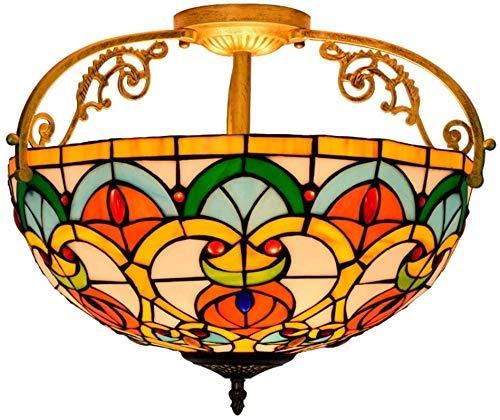 Wtbew-u Lámpara de Techo, luz de baño Montaje en Descarga de 16 Pulgadas de Montaje Antiguo Europeo de Cristal Manchado Colgando el Accesorio de iluminación para el Comedor