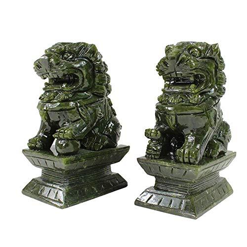 DCLINA Feng Shui Un par estatuas Piedra Verde, un par Leones Beijing, Perros Fu Foo, decoración China para el hogar y la Oficina, atrae la Riqueza y la Buena Suerte, Cuatro tamaños