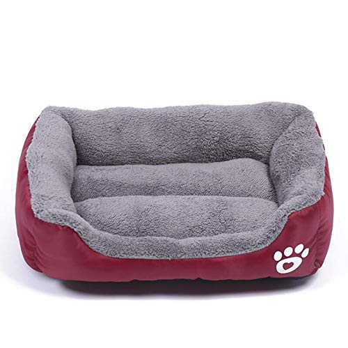 YMYGCC Pet Bed S-3XL Dogs Bed For Small Medium Large Dogs Big Basket Pet House Waterproof Bottom Soft Fleece Warm Cat Bed Sofa House 8 Colors 54 (Color : Wine red, Size : M)