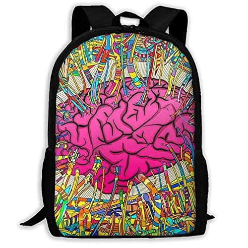 Bingyingne Cervello artistico con linea colorata Zaino per laptop Zaino per scuola College Bookbags Zaino per scuola resistente all'acqua Daypacks