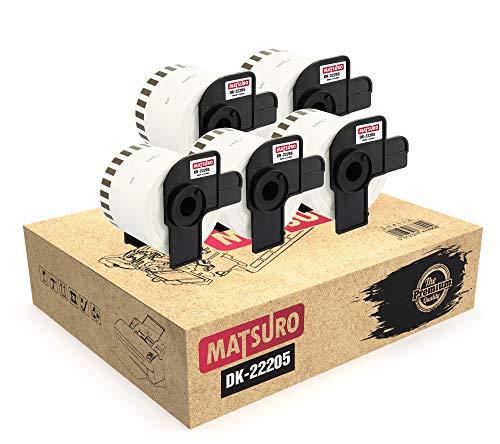 Matsuro Original | Kompatibel Rollen Endlos-Etiketten Ersatz für BROTHER P-TOUCH DK-22205 DK22205 (62 mm x 30,48 m | 5-er PACK)