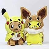yunding 2 Unids / Set Pokemon Animales Pikachu Cosplay Eevee Felpa 30Cm Muñecos De Peluche Eevee Cosplay Pikachu Juguetes Regalo para Niños