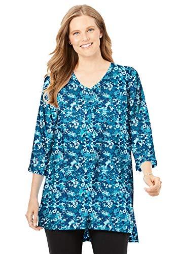 Woman Within Women's Plus Size Longer Length Three-Quarter Sleeve V-Neck Tunic - 26/28, Deep Teal Mini Camo