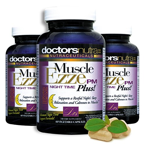 Natural Sleep Aid Muscle Ezze PM Plus Night Time Capsules (Pack of 3) by Doctors Nutra Nutraceuticals Non-Habit Forming Sleeping Pill Relief with Melatonin, Valerian, Chamomile, Lemon Balm and Herbs