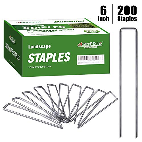 Amagabeli 6 Inch Galvanized Landscape Staples 200 Pack Garden Stakes Heavy-Duty Sod Pins Anti-Rust Fence Stakes for Weed Barrier Fabric Ground Cover Dripper Irrigation Tubing Soaker