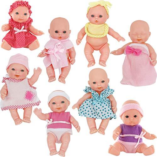 "Click N' Play Set of 8 Mini 5"" Baby Girl Dolls"