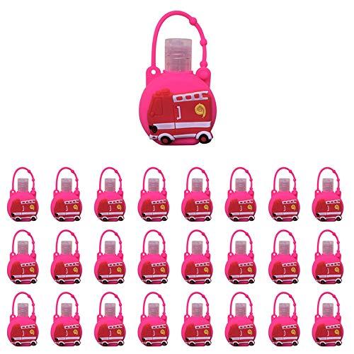 Xniral 25 STK Kinder Seife Wasserflasche Schlüsselbund 30ml Leere Reise Kunststoff Schlüsselbundträger mit Silikon Cartoon Fall auslaufsichere nachfüllbare Behälte(K)