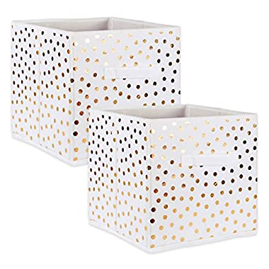 DII Fabric Storage Bins for Nursery, Offices, Home Organization, Containers Are Made To Fit Standard Cube Organizers (13x13x13) White with Gold Dots - Set of 2