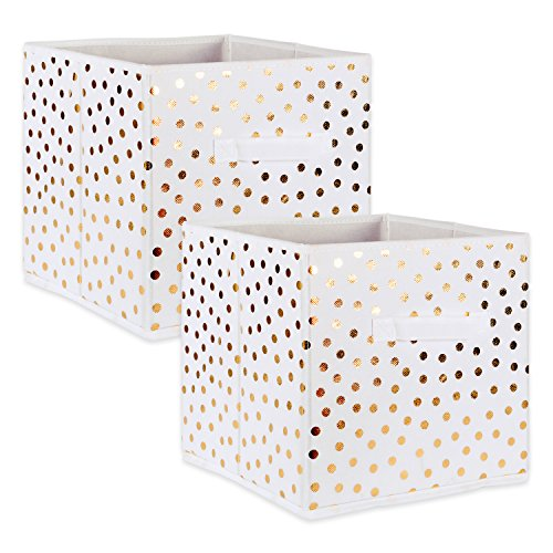 DII Fabric Storage Bins for Nursery, Offices, & Home Organization, Containers Are Made To Fit Standard Cube Organizers (13x13x13') White with Gold Dots - Set of 2