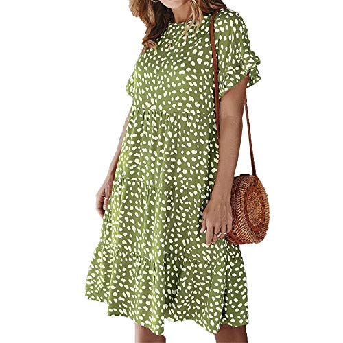 Chenlao7gou621 Lotus Leaf Sleeve Polka Dot Light Gekochtes Kleid