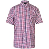 Pierre Cardin Hombre Camisa de Manga Corta Estampado Cuadros o Geométrico con Bordado de Firma (Large, Red/Royal)