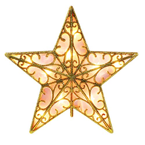 YUNLIGHTS Glittered Christmas Tree Topper - 9 Inch Star Topper Christmas Ornaments for Indoor Party Home Golden Xmas Tree Topper Christmas Decorations, Warm White