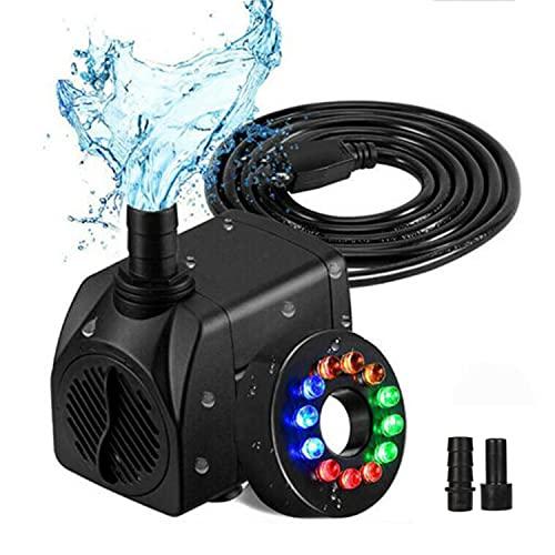 Aquariumpumpe Kleine 15 Watt 750L / H mit Abnehmbar 2 Düsen(13mm/8 mm) und 12 Farbe LED Licht, Teichpumpe Mini Wasserpumpe für Aquarien, Teich, Brunnen, Garten