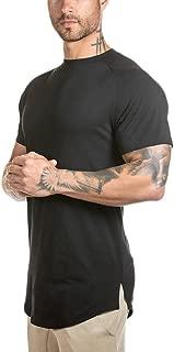 Mens Slim Fitted Gym Athletic T-Shirt Longline Raglan Sleeve Curved Hem Shirts Tees