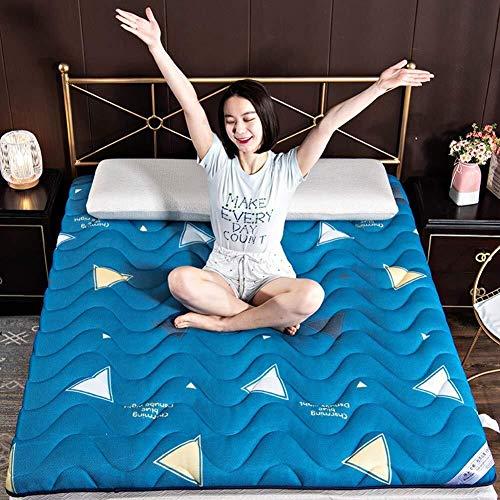 Tatami-matras, 90 x 180 x 200 cm, 200 cm, opvouwbaar, Japanse tattami, futon, oprolbaar, matrashoes, comfort-matras, klapbed, anti-allergische afdekkingen 180x200cm Een