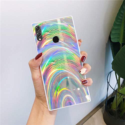 QPOLLY Kompatibel mit Huawei Honor 8X Hülle Glänzend Bling Glitzer Bunt Muster Schutzhülle Ultra dünn Weiches TPU Silikon Bumper Handyhülle Case für Huawei Honor 8X,Silber