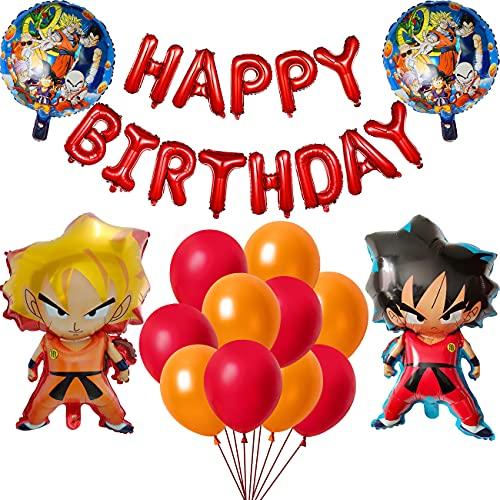 Kit De Globos De Aluminio Dragon Ball Para Fiestas Niños Feliz Cumpleaños Decoración Fiesta Personaje DBZ Super Saiyan Goku Gohan Doble Cara Adornos Temática Dibujos Animados Para Niños Fans