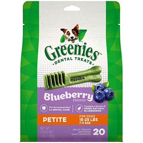 GREENIES Petite Natural Dog Dental Care Chews Oral Health Dog Treats Blueberry Flavor, 12 oz. Pack (20 Treats)