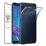 ebestStar - kompatibel mit Asus Zenfone Max M1 Hülle ZB555KL Handyhülle [Ultra Dünn], Durchsichtige Klar Flex Silikon Schutzhülle, Transparent +Panzerglas Schutzfolie [Phone: 147.3x70.9x8.7mm, 5.5'']