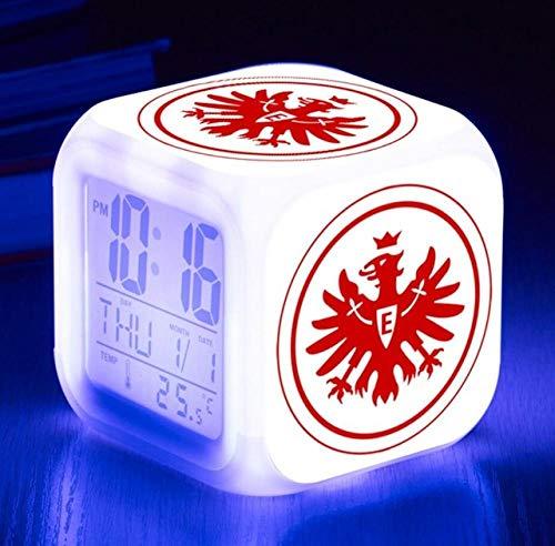 Digitaler Wecker,Eintracht Frankfurt Fußballverein,Lichtwecker mit LED Licht 7 Farben ändern, Datum, Temperaturanzeige, Snooze Funktion,Geburtstagsgeschenk, Nachtlicht für Kinder, Erwachsene -1