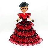 Folk Artesanía Muñeca Sintra 42 cm Similar Nancy Famosa Vestido Regional típico Andaluza con Sombrero cordobesa. (Rojo con Lunares Negros)