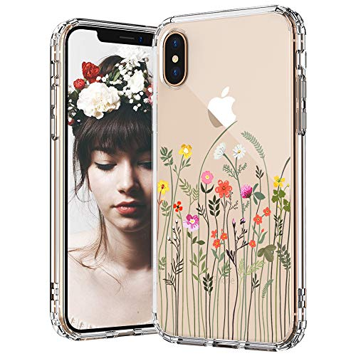 MOSNOVO iPhone Xs Case, iPhone X Case, Wildflower Floral Flower Pattern Printed Clear Design Plastic Back Case with TPU Bumper Protective Case Cover for iPhone X/iPhone Xs (Little Floral Flower)