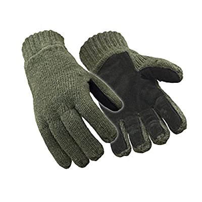 RefrigiWear Thinsulate Insulated Fleece Lined 100% Ragg Wool Leather Palm Gloves (Green, Large)